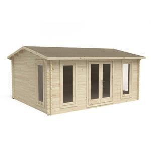 Forest Rushock 5.0m x 4.0m Log Cabin Double Glazed 34kg Polyester Felt, Plus Underlay