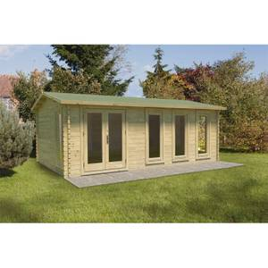 Blakedown 6m x 4m Log Cabin Double Glazed 24kg Polyester Felt, No Underlay - Installed