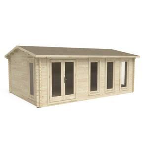 Forest Blakedown 6.0m x 4.0m Log Cabin Double Glazed 24kg Polyester Felt, Plus Underlay