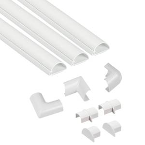 D-Line Mini Decorative Self Adhesive Trunking Multipack 3 x 30mm x 15mm x 1-meter Lengths & Accessories - White