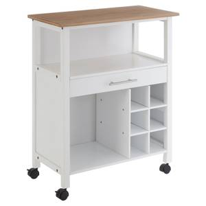 White and Bamboo Top Kitchen Trolley with Drawer