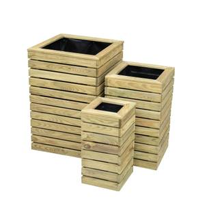Forest Contemporary Slatted Planter Set