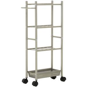 4 Tier Kitchen Trolley with Basket - Brushed Nickel