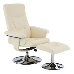 Leather Effect Recliner & Footstool - White