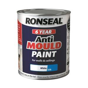 Ronseal 6 Year Anti Mould Paint - White Silk 750ml