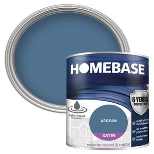 Homebase Exterior Satin Paint - Blazing Blue 750ml