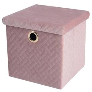 Velvet Quilted Storage Box with Lid - Blush