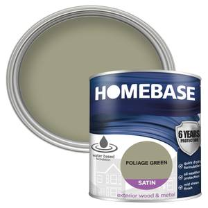 Homebase Exterior Satin Paint - Foliage Green 750ml