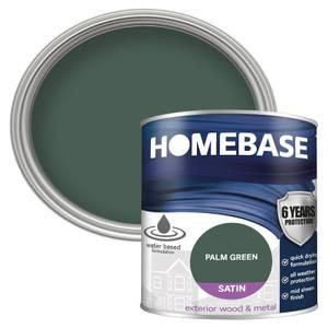Homebase Exterior Satin Paint - Palm Green 750ml