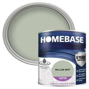 Homebase Exterior Satin Paint - Willow Mist 750ml