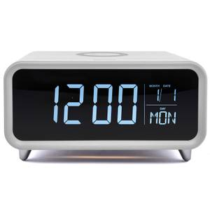 Groov-E Athena Alarm Clock with Wireless Charging Pad - White