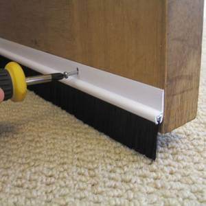 Stormguard PVC Brush Door Bottom Strip Draught Excluder - White