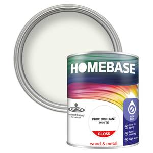Homebase Interior Non Drip Gloss Paint - Brilliant White 750ml