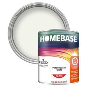 Homebase Interior One Coat Gloss Paint - Brilliant White 750ml