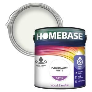 Homebase Interior Non Drip Satin Paint - Brilliant White 2.5L