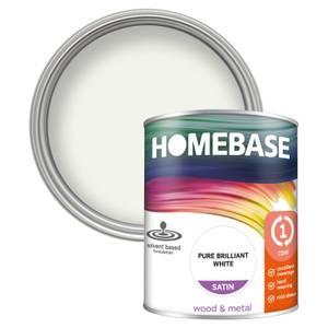 Homebase Interior One Coat Satin Paint - Brilliant White 750ml