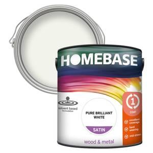 Homebase Interior One Coat Satin Paint - Brilliant White 2.5L