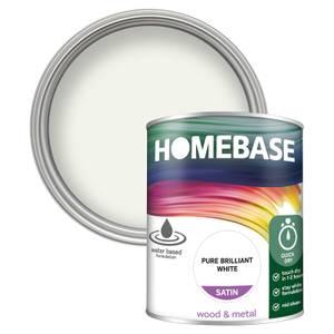 Homebase Interior Quick Dry Satin Paint - Brilliant White 750ml