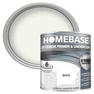 Homebase Exterior Primer Undercoat - Brilliant White 750ml