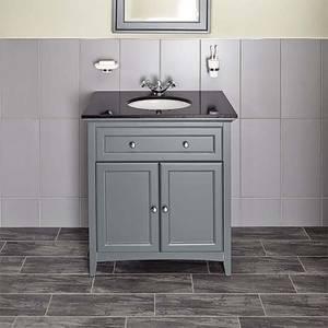 Bathstore Savoy 790mm Granite Top Floorstanding Vanity Unit - Charcoal Grey