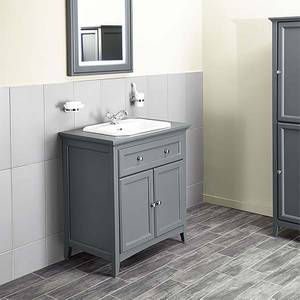 Bathstore Savoy 790mm 1 Tap Hole Floorstanding Vanity Unit - Charcoal Grey