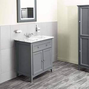 Bathstore Savoy 790mm Marble Top Floorstanding Vanity Unit - Charcoal Grey