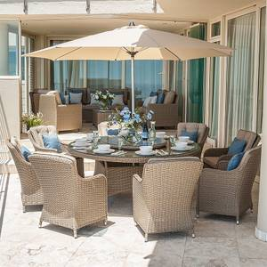 Nova Sofia 8 Seater Rattan Round Dining Set in Willow