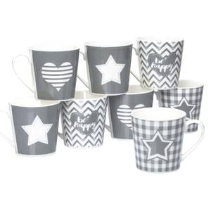 Grey Star & Heart Mugs - Set of 8