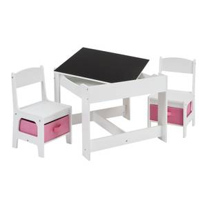 Table & Chair - White with Pink Bins