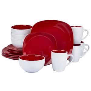Nova Square 16 Piece Dinner Set - Red