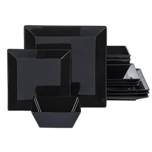 Stoneware Soho 12 Piece Dinner Set - Black