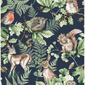 Fresco Woodland Animals Navy Wallpaper