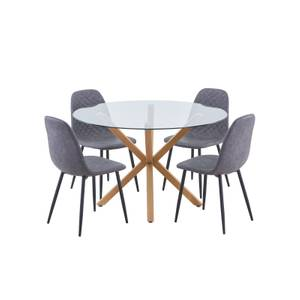 Ludlow 4 Seater Dining Set - Perth Diamond Back Dining Chairs - Grey