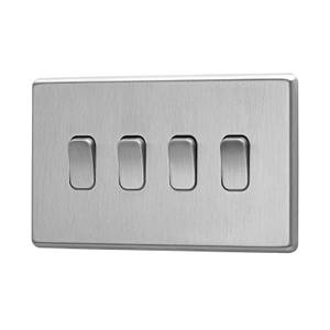 Arlec Fusion 10A 4Gang 2Way Stainless Steel Quadruple light switch