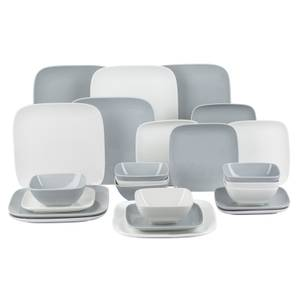 Hampton Square 24 Piece Dinner Set - White & Grey