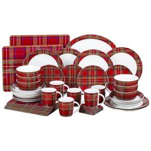Traditional Tartan 45 Piece Entertaining Set - Red