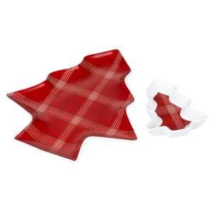 Highland Tartan Christmas Tree Serving Set - Set of 2