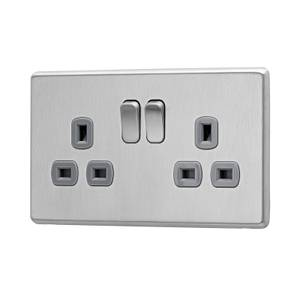 Arlec Fusion 13A 2 Gang Stainless Steel Double switched socket