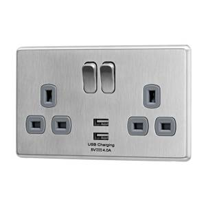 Arlec Fusion 13A 2 Gang Stainless Steel Double switched socket with 2x4A USB