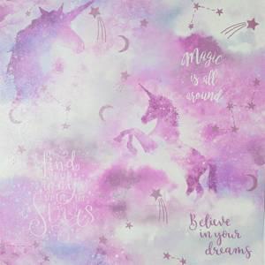 Arthouse Galaxy Unicorn Kids Textured Glitter Blush Pink Wallpaper