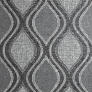 Arthouse Curve Geometric Textured Charcoal Wallpaper