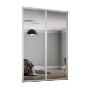 Shaker 2 Door Sliding Wardrobe Kit Mirror with White Frame (W)1449 x (H)2260mm