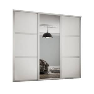 Shaker 3 Door Sliding Wardrobe Kit White Panel / Mirror with White Frame (W)1680 x (H)2260mm