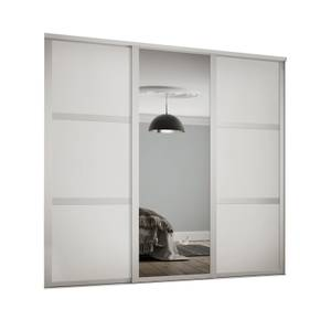 Shaker 3 Door Sliding Wardrobe Kit White Panel / Mirror with White Frame (W)2136 x (H)2260mm