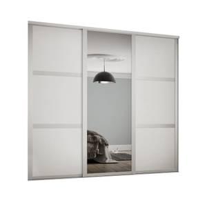 Shaker 3 Door Sliding Wardrobe Kit White Panel / Mirror with White Frame (W)2592 x (H)2260mm