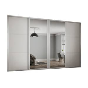 Shaker 4 Door Sliding Wardrobe Kit White Panel / Mirror with White Frame (W)2898 x (H)2260mm