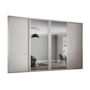 Shaker 4 Door Sliding Wardrobe Kit White Panel / Mirror with White Frame (W)2290 x (H)2260mm