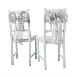 6 Piece Chair Bows Metallic Organza - Silver