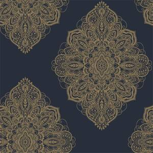 Arthouse Henna Damask Smooth Metallic Navy and Gold Wallpaper