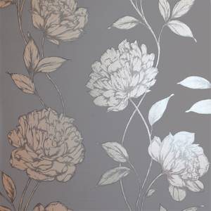 Arthouse Pretty Floral Smooth Metallic Charcoal Wallpaper